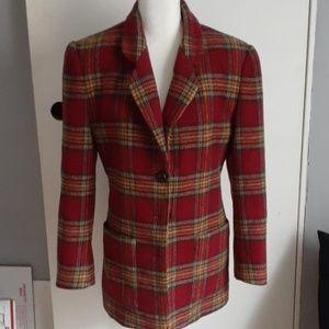 Henry Bendel Plaid Vintage Blazer 6 Wool & Alpaca